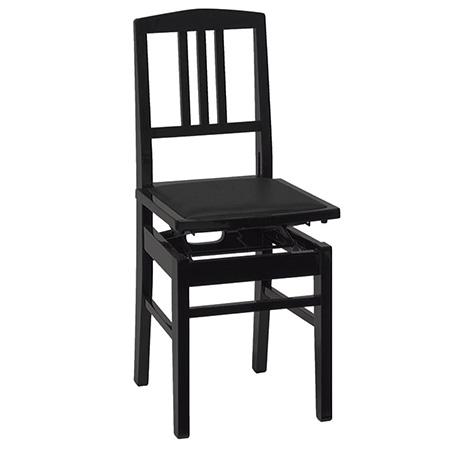 ピアノ椅子 (背もたれ付タイプ) No.5 黒塗・黒座面
