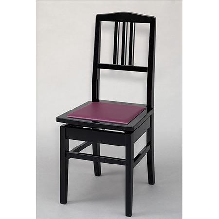 ピアノ椅子 (背もたれ付タイプ) No.5 黒塗・エンジ座面